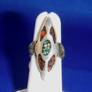 Sterling Silver Ring, Coral Turquoise Inlay, 6 1/4